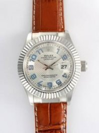 Rolex DATEJUST Silver Dial With Baby Blue Arabic