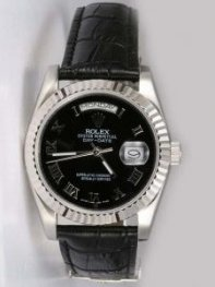 Rolex Day Date Black Dial With Roman Hour Marker