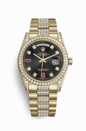 Rolex Day-Date 36 118388 Black diamonds rubies Dial Watch Replica