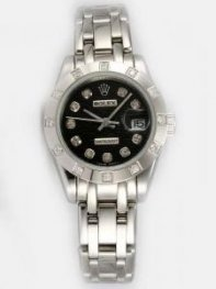 Rolex DATEJUST Black Dial With CZ Diamond Hour