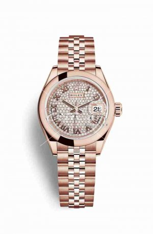 Rolex Datejust 28 Everose gold 279165 Diamond-paved Dial Watch Replica