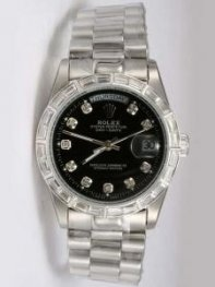 Rolex Day Date Black Dial With CZ Diamond Hour M