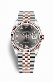 Rolex Datejust 36 Everose gold 126231 Dark rhodium diamonds Watch Replica