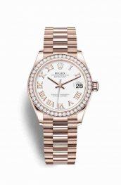 Rolex Datejust 31 Everose gold 278285RBR White Dial Watch Replica
