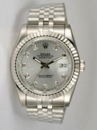 Rolex DATEJUST Light Grey Dial With CZ Diamond H