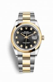 Rolex Datejust 36 Yellow 126203 Black diamonds Watch Replica