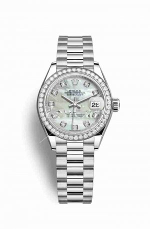 Rolex Datejust 28 Platinum 279136RBR White mother-of-pearl diamonds Watch Replica