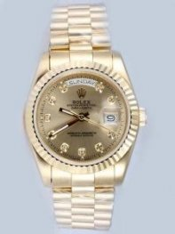 Rolex Day Date Maroon Dial With CZ Diamond Hour