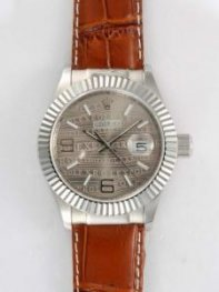 Rolex Date Gray Dial With White Bar And Arabic N