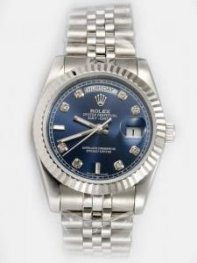 Rolex Day Date Mandarin Blue Dial With CZ Diamon