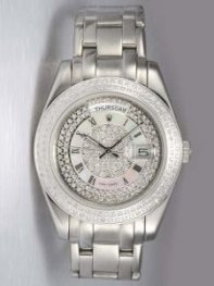 Rolex Day Date Iced Silver Dial With White Ring