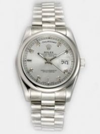 Rolex Day Date White Dial With CZ Diamond And Ba