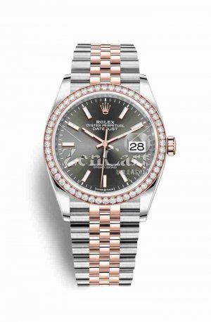 Rolex Datejust 36 Everose gold 126281RBR Dark rhodium Dial Watch Replica