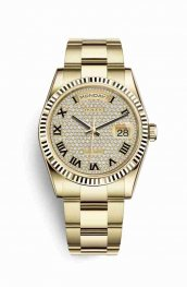 Rolex Day-Date 36 118238 Diamond-paved Dial Watch Replica