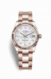 Rolex Datejust 31 Everose gold 278275 White mother-of-pearl diamonds Watch Replica