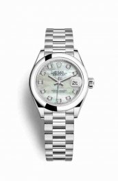 Rolex Datejust 28 Platinum 279166 White mother-of-pearl diamonds Watch Replica