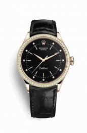 Rolex Cellini Time Everose gold 50705RBR Black diamonds Watch Replica