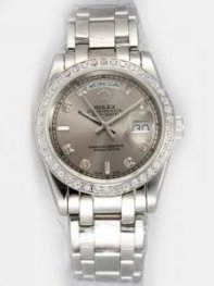 Rolex Day Date Black Ash Dial With Shaped Hour M
