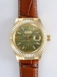 Rolex Date 18K Gold Green And Yellow Dial With W