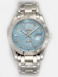 Rolex Day Date Etched Blue Grey Dial With Shaped