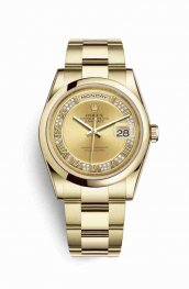 Rolex Day-Date 36 118208 Champagne diamonds Watch Replica