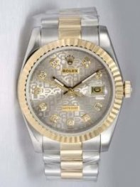Rolex DATEJUST Etched Silver Dial With CZ Diamo