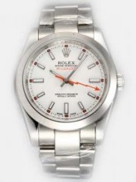 Rolex Milgauss White Dial Shaped White Bar And R