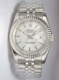 Rolex DATEJUST Silver Dial With Bar Hour Markers