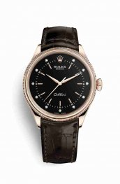 Rolex Cellini Time Everose gold 50505 Black diamonds Watch Replica