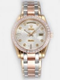 Rolex Day Date Etched White Dial With CZ Diamond