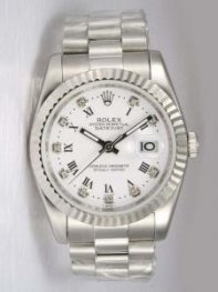 Rolex DATEJUST White Dial With Roman And CZ Diam
