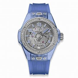 Hublot Big Bang One Click Blue Sapphire Diamonds 39mm 465.JL.4802.RT.1204 Replica Watch