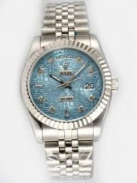 Rolex Day Date Etched Thirsty Blue Dial With Rom