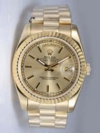 Rolex Day Date Golden Dial With Hour Bar Markers