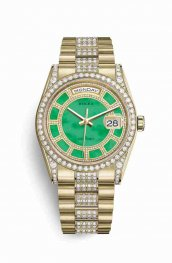 Rolex Day-Date 36 118388 Carousel of green jade Dial Watch Replica