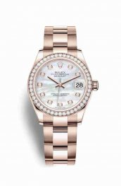 Rolex Datejust 31 Everose gold 278285RBR White mother-of-pearl diamonds Watch Replica