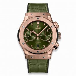 Hublot Classic Fusion Chronograph Green King Gold 45mm 521.OX.8980.LR Replica