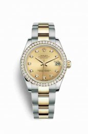 Rolex Datejust 31 Yellow 178383 Champagne diamonds Watch Replica