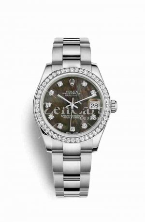 Rolex Datejust 31 White gold 178384 Black mother-of-pearl diamonds Watch Replica