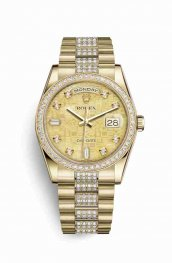 Rolex Day-Date 36 118348 Champagne mother-of-pearl Jubilee diamonds Watch Replica