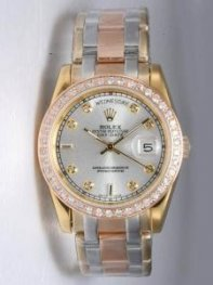 Rolex Day Date Silver Dial With CZ Diamonds And