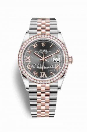 Rolex Datejust 36 Everose gold 126281RBR Dark rhodium diamonds Watch Replica