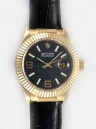 Rolex Date 18K Gold Black Dial With White Bar An