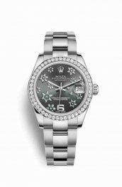 Rolex Datejust 31 White gold 178384 Dark rhodium raised floral motif Dial Watch Replica