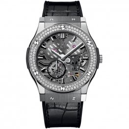 Hublot Classic Fusion Classico Ultra-thin Skeleton Titanium Diamonds 545.NX.0170.LR.1104 Watch Replica