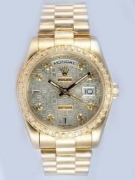 Rolex Day Date Etched Light Grey Dial With CZ Di