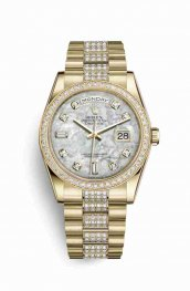 Rolex Day-Date 36 118348 White mother-of-pearl diamonds Watch Replica