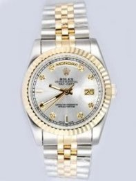 Rolex Day Date Silver Dial With CZ Diamond Hour