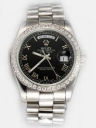 Rolex Day Date Black Dial With Roman Hour Marke