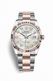 Rolex Datejust 36 Everose gold 126231 White mother-of-pearl diamonds Watch Replica